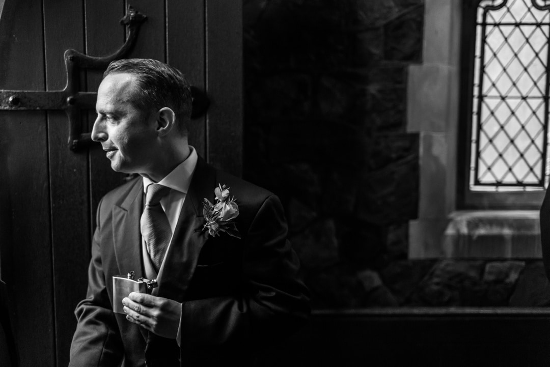 Groom waiting at St Isaans Church in Llanishen, Cardiff