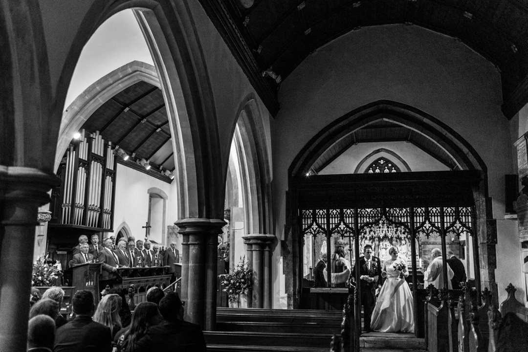 wedding ceremony at St Isaans Church in Llanishen, Cardiff