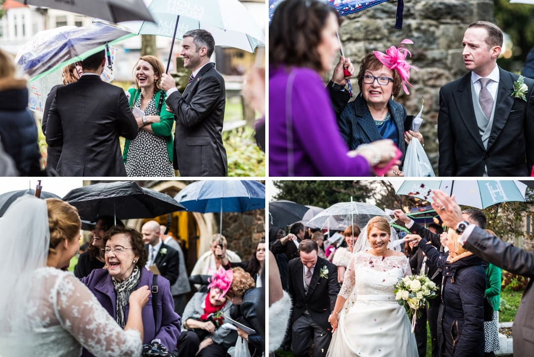 wedding celebrations at St Isaans Church in Llanishen, Cardiff