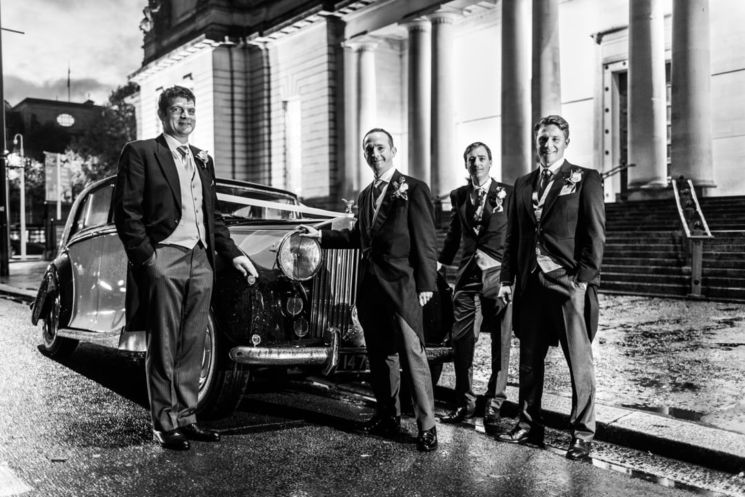 groom mens with rolls royceCardiff Museum at night