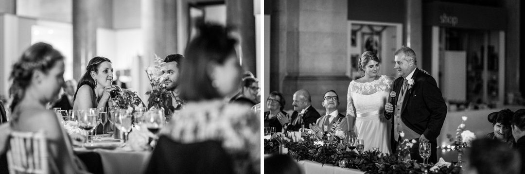 wedding speeches at Cardiff Museum at night