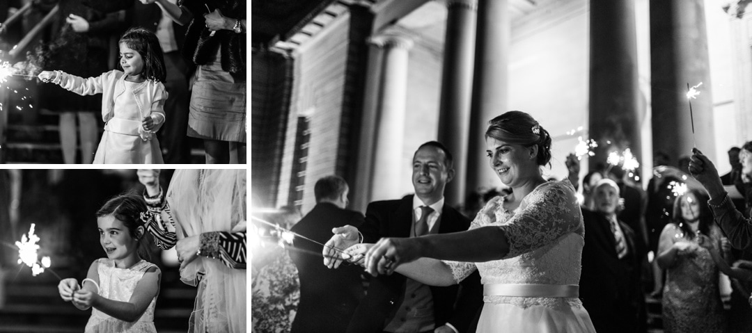 wedding sparklers at Cardiff Museum at night