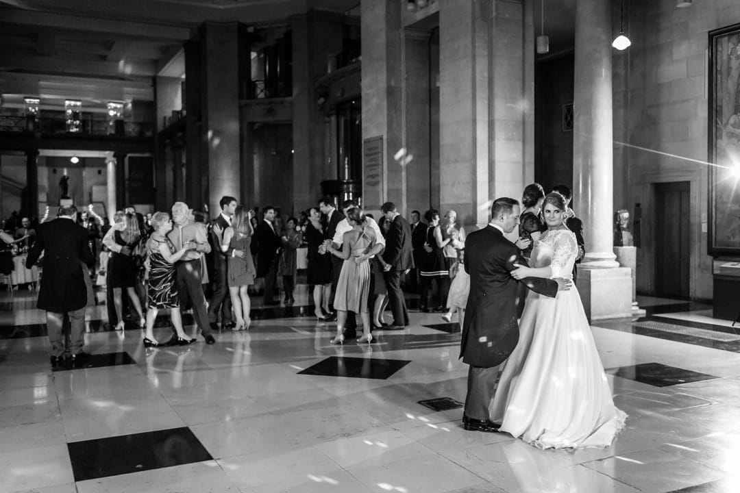 wedding dancing at Cardiff Museum at night