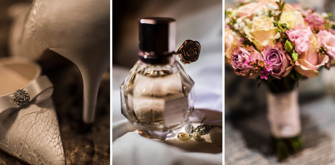 wedding day perfume, flowers and shoes