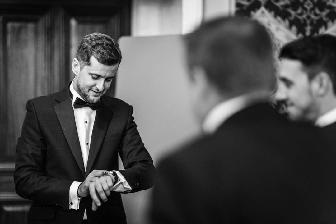 groom preparation for hensol castle wedding