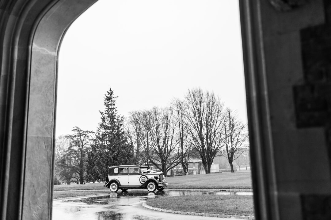 bride arrives at hensol castle