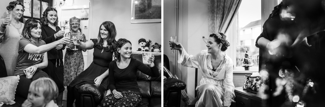 bride and maids toasting