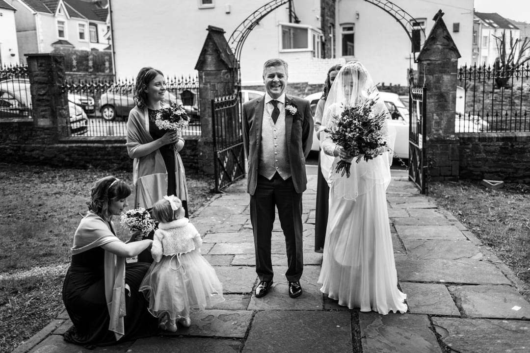 bride with father outside church