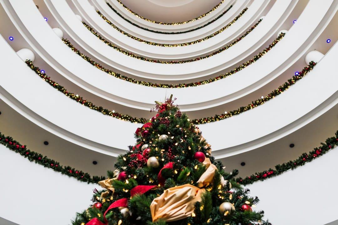 Christmas tree at St David's Hotel Cardiff