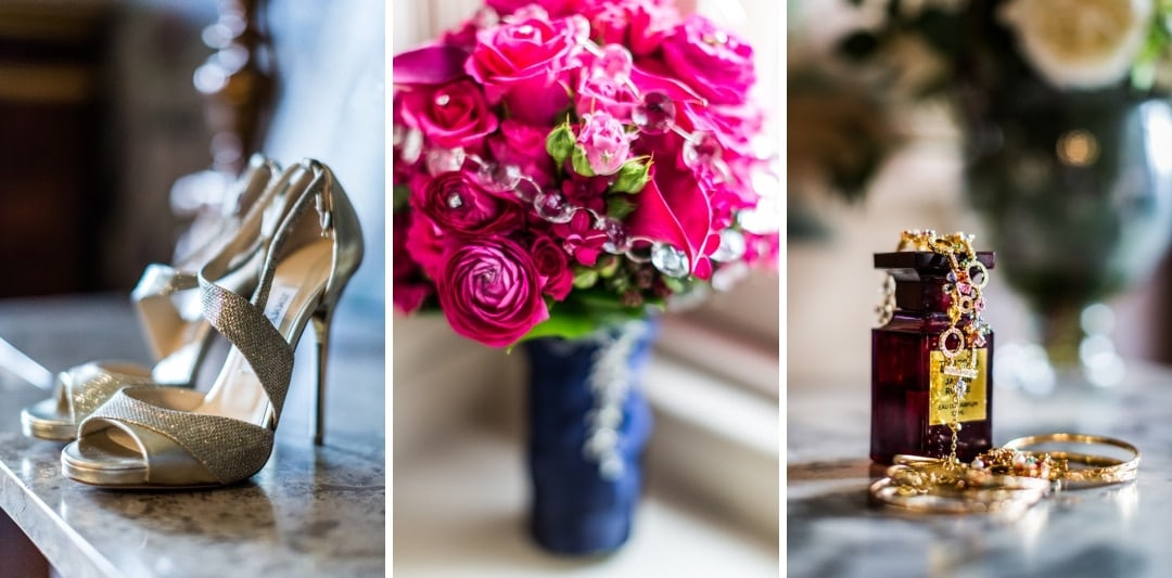 wedding bridal shoes, jewellery and flowers