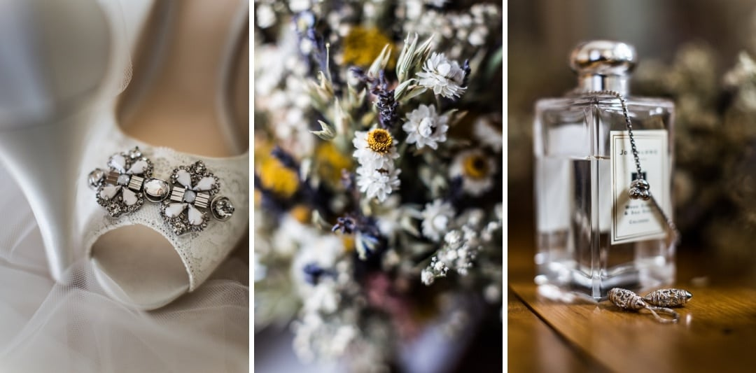 Wedding dress, shoes and perfume