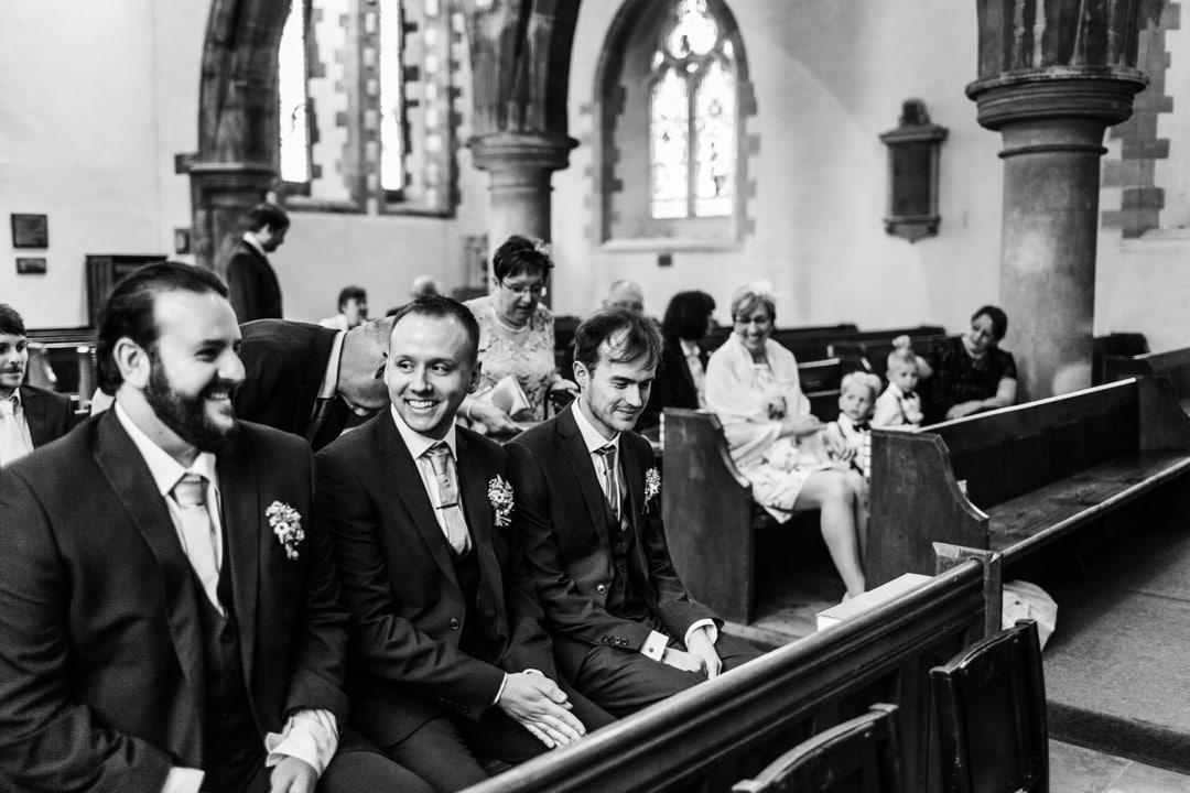 groom waiting at church