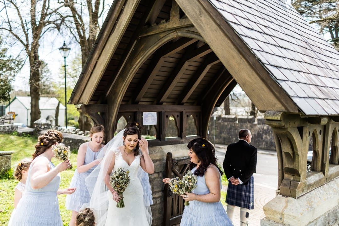 bride arrives at church for wedding
