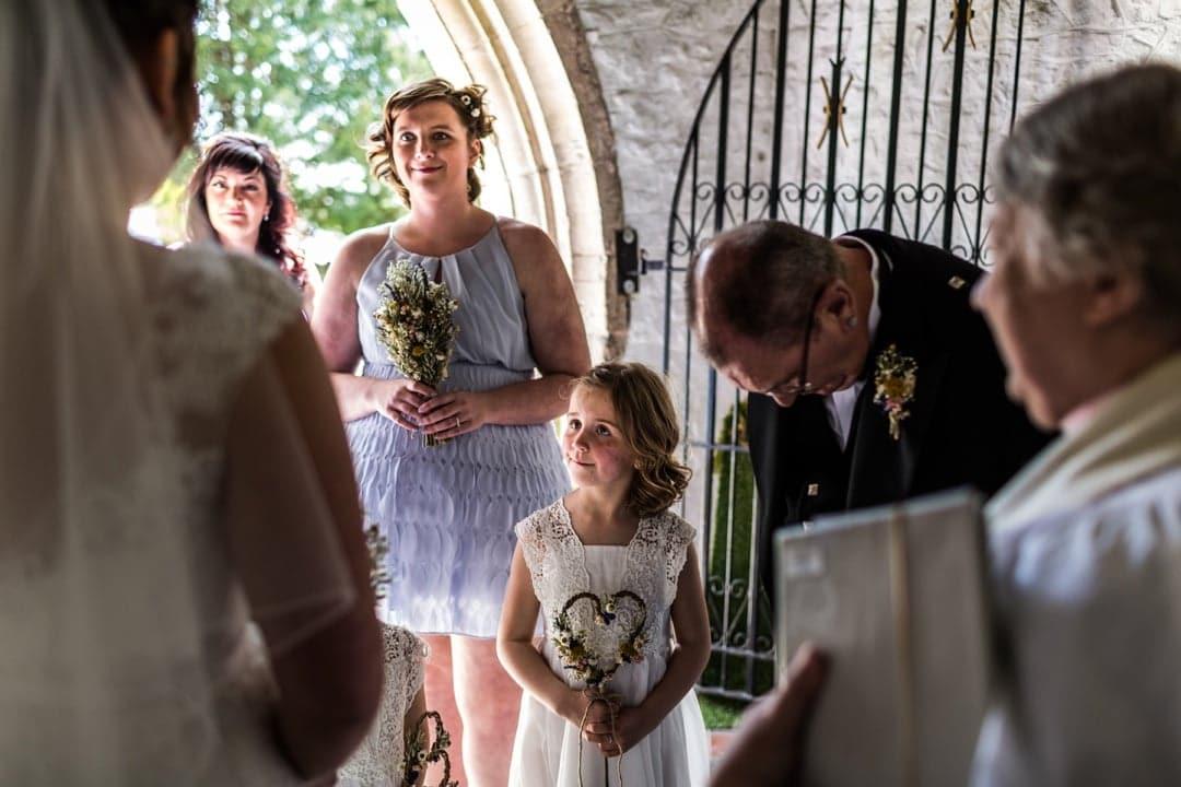 flower girls at church wedding