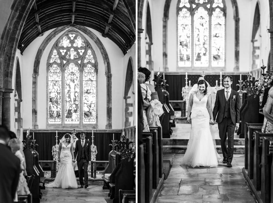 walking down the aisle at wedding