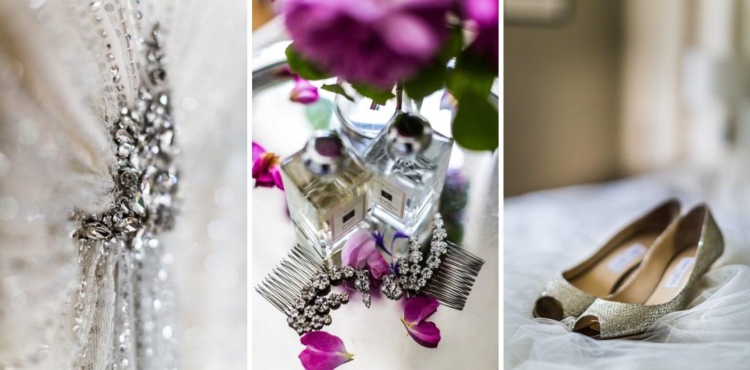 bridal details for euridge manor wedding