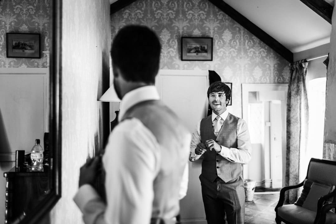 Groom getting ready for a wedding