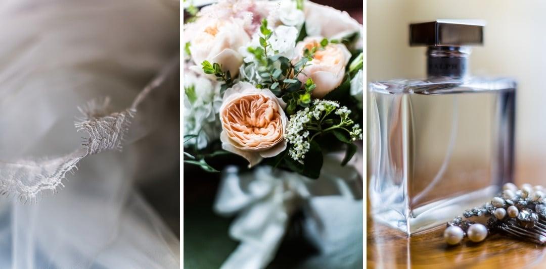 brides flowers, perfume and jewllery