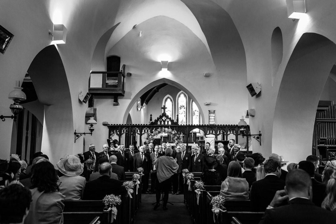 Male voice choir at wedding