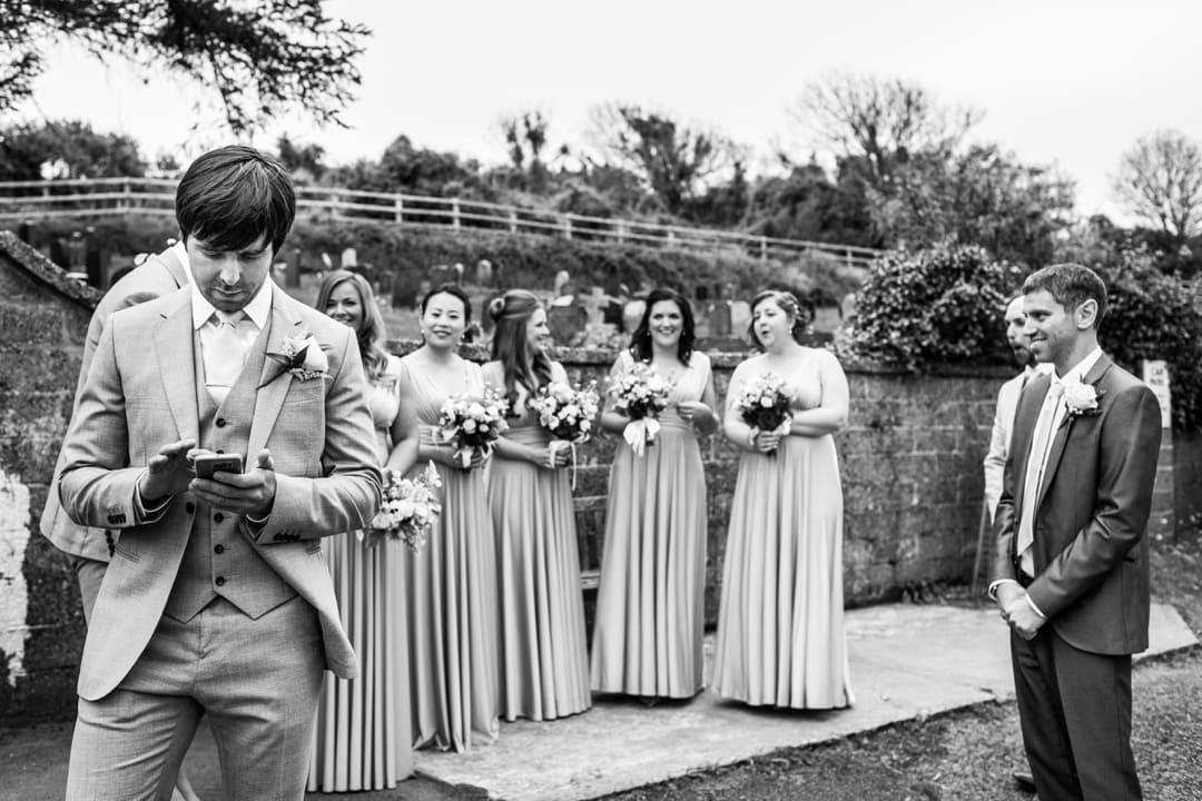 bridesmaind waiting at church