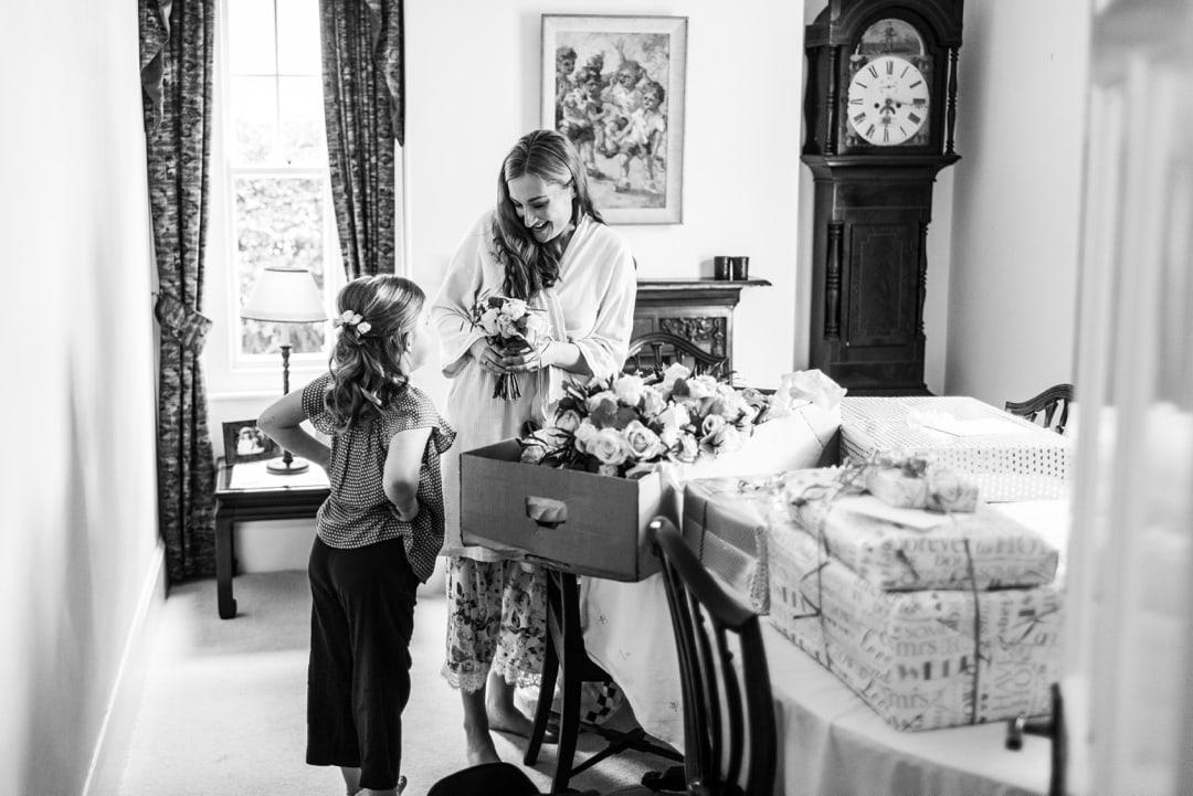 Brides show flower girl bouquet