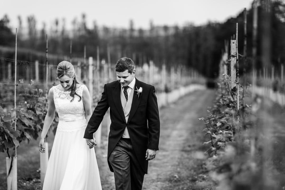 Bride and groom at a Llanerch Vineyard wedding