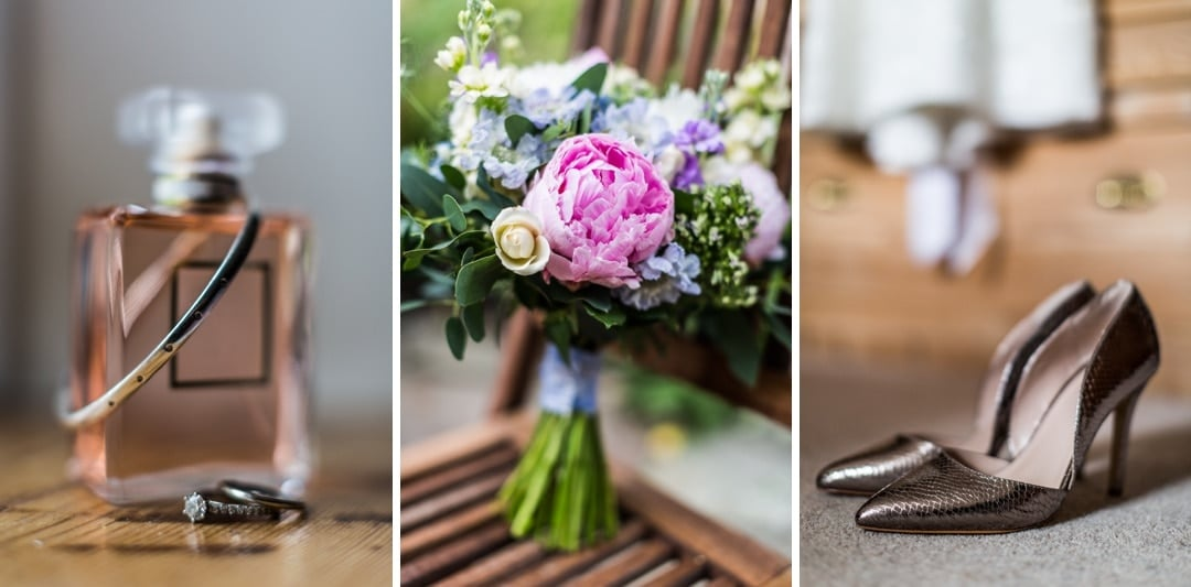 flowers and shoes for wedding day at Llanvihangel Court
