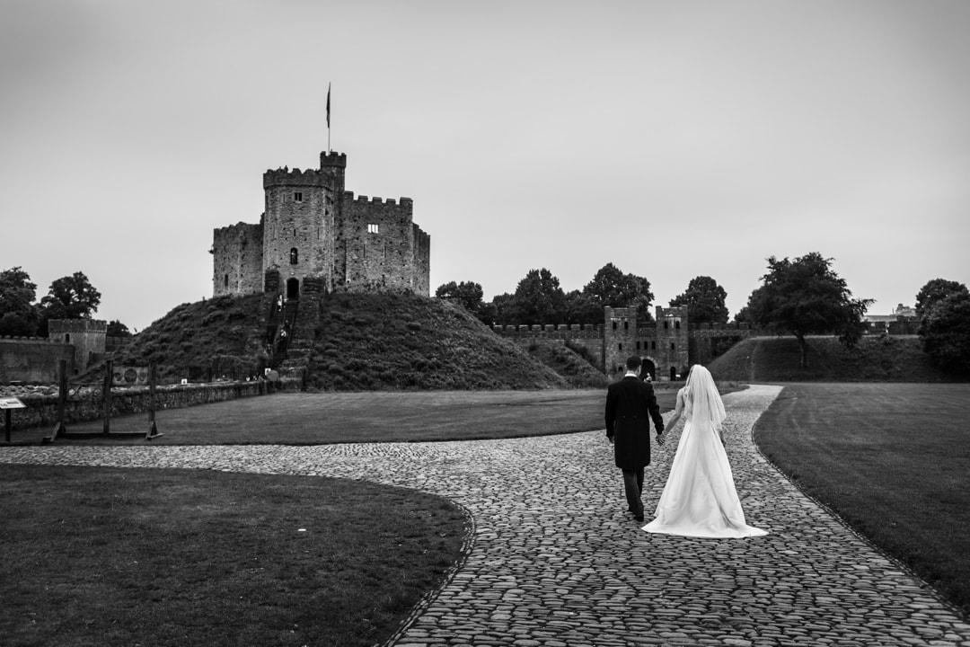 bride and groom at Cardiff Castle wedding
