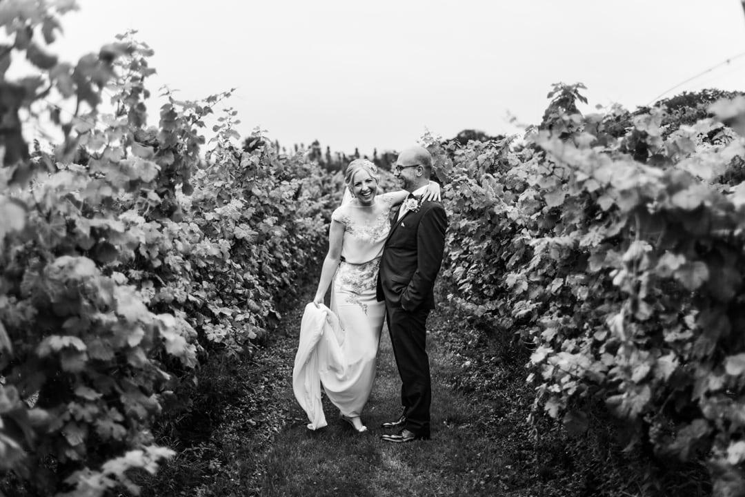 Bride and groom amongst Llanerch Vineyard at their wedding