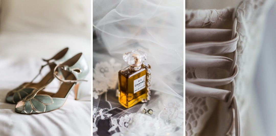 wedding day bridal details, perfume, flowers, shoes