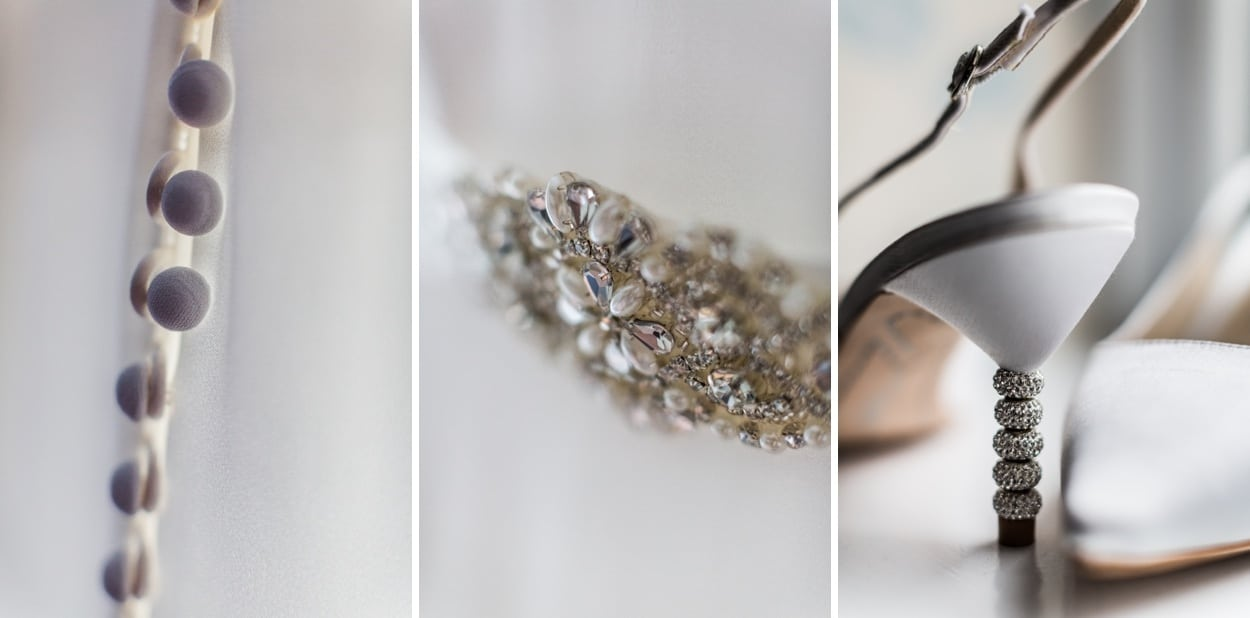 Wedding day shoes and dress details for Hensol Castle