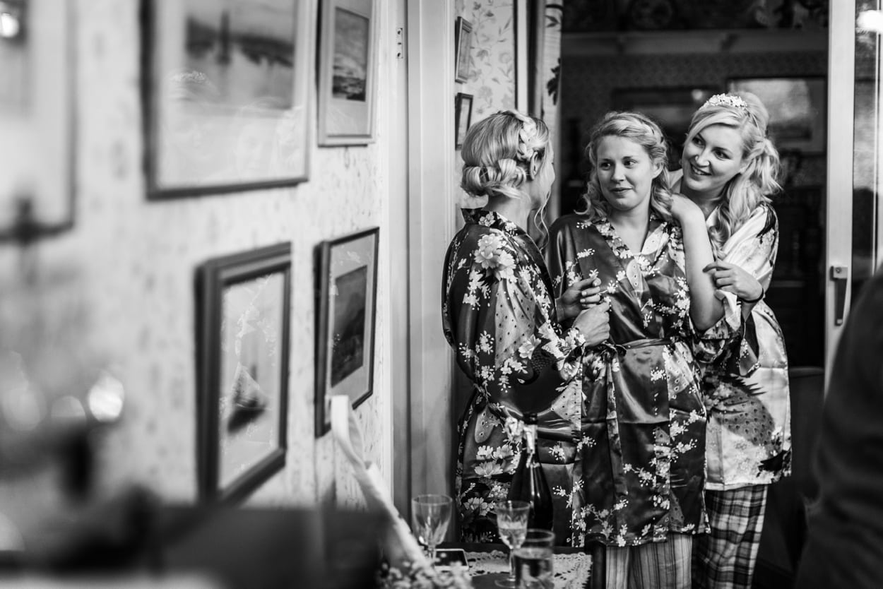 bride and bridemaids in dressing gowns
