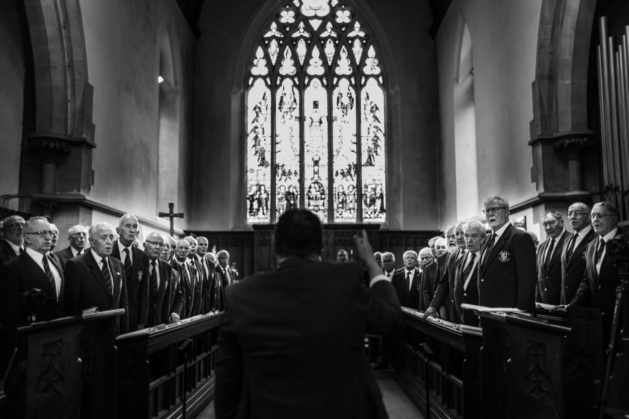 male voice choir wedding day in south wales