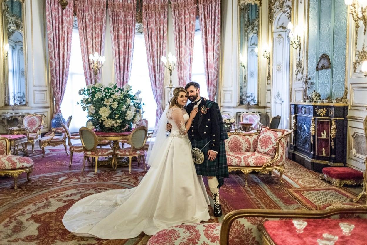 Bride and groom in Elizabeth Saloon at Belvoir Castle