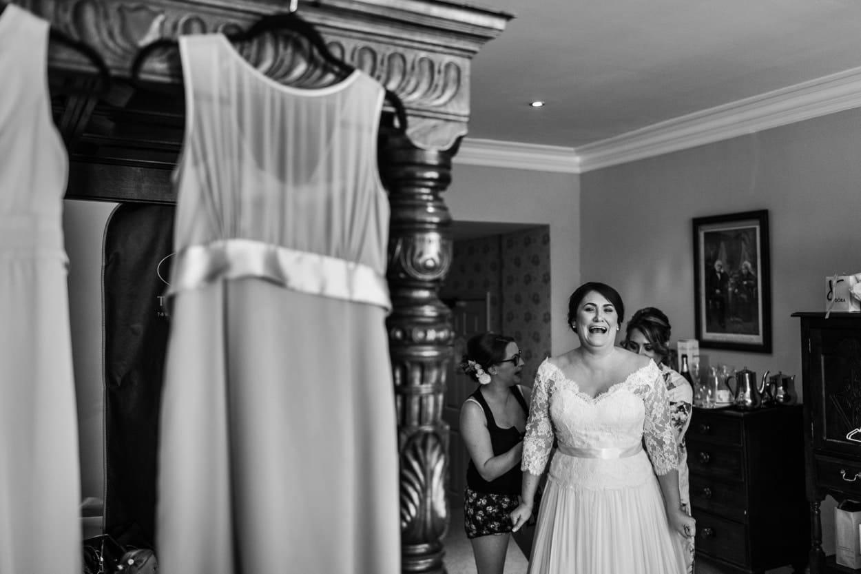wedding dress at Miskin Manor