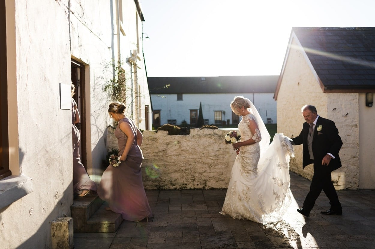 Bride arrives at The Corran for wedding