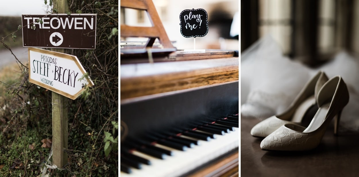 Wedding details at Treowen House in Monmouthshire, Wales