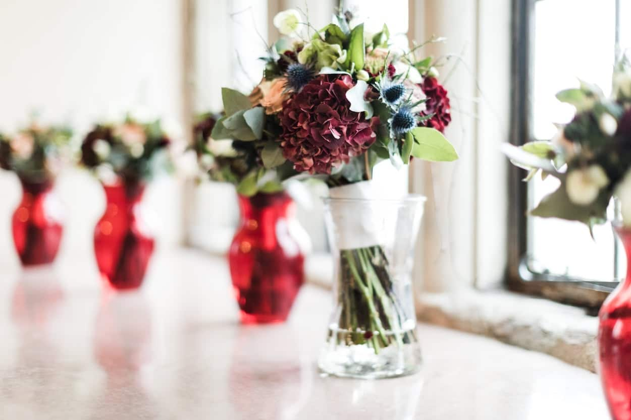 Wedding flowers at Treowen House in Monmouthshire, Wales