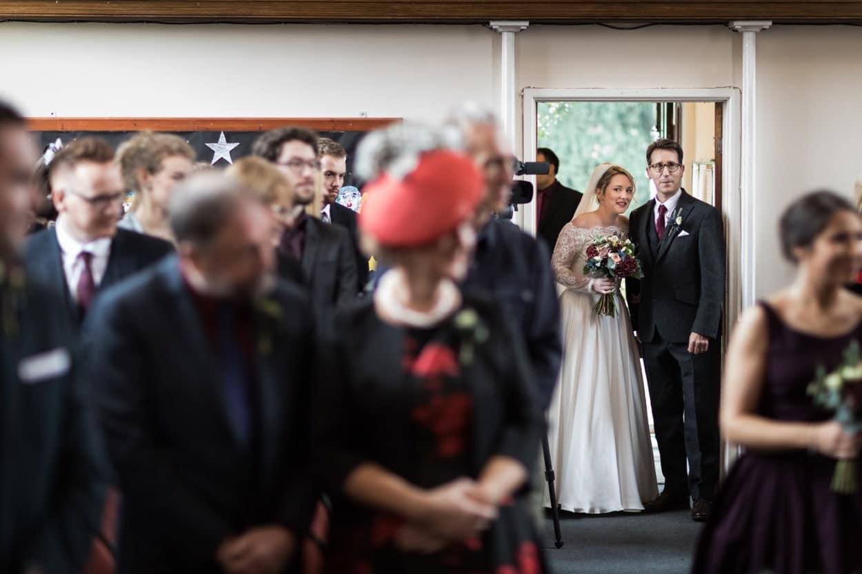 Bride arrives for wedding ceremony Raglan Baptist Church