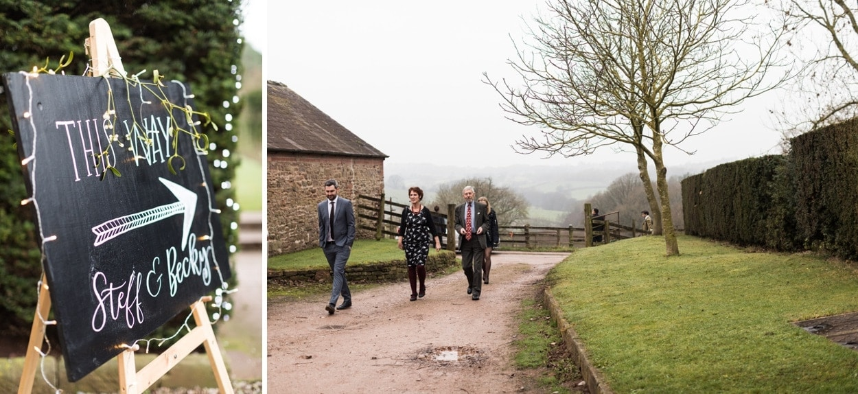 Wedding guests arrive at Treowen