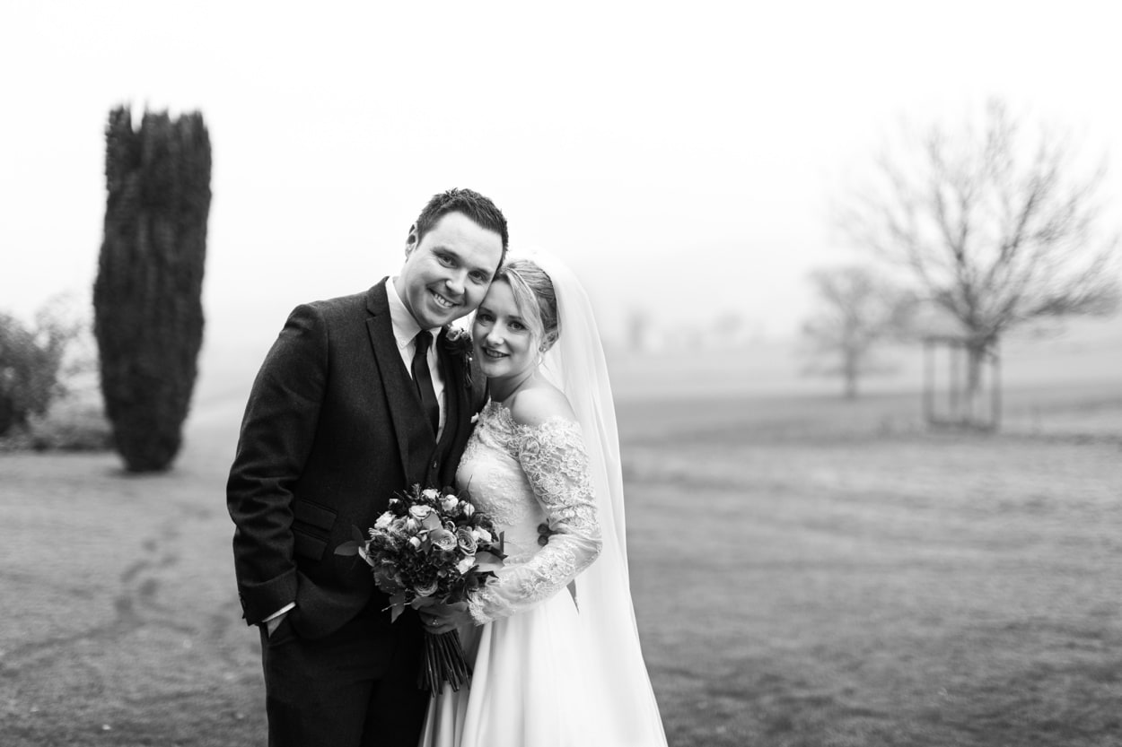 Bride and groom portrait photographs at Treowen House wedding in Monmouthshire
