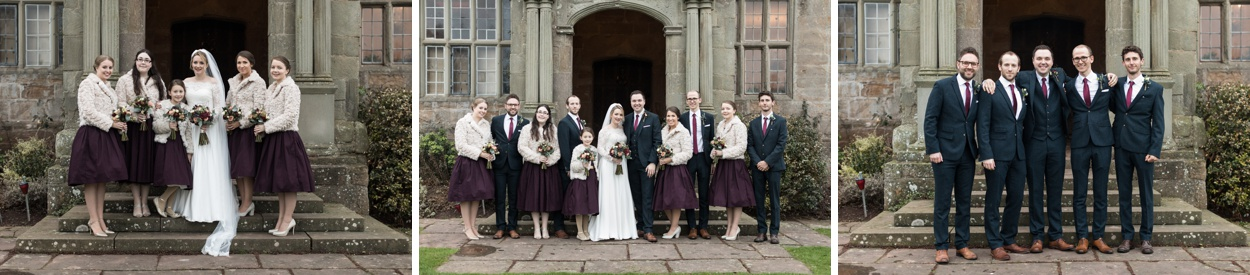 Family groups photographs at Treowen House wedding in Monmouthshire