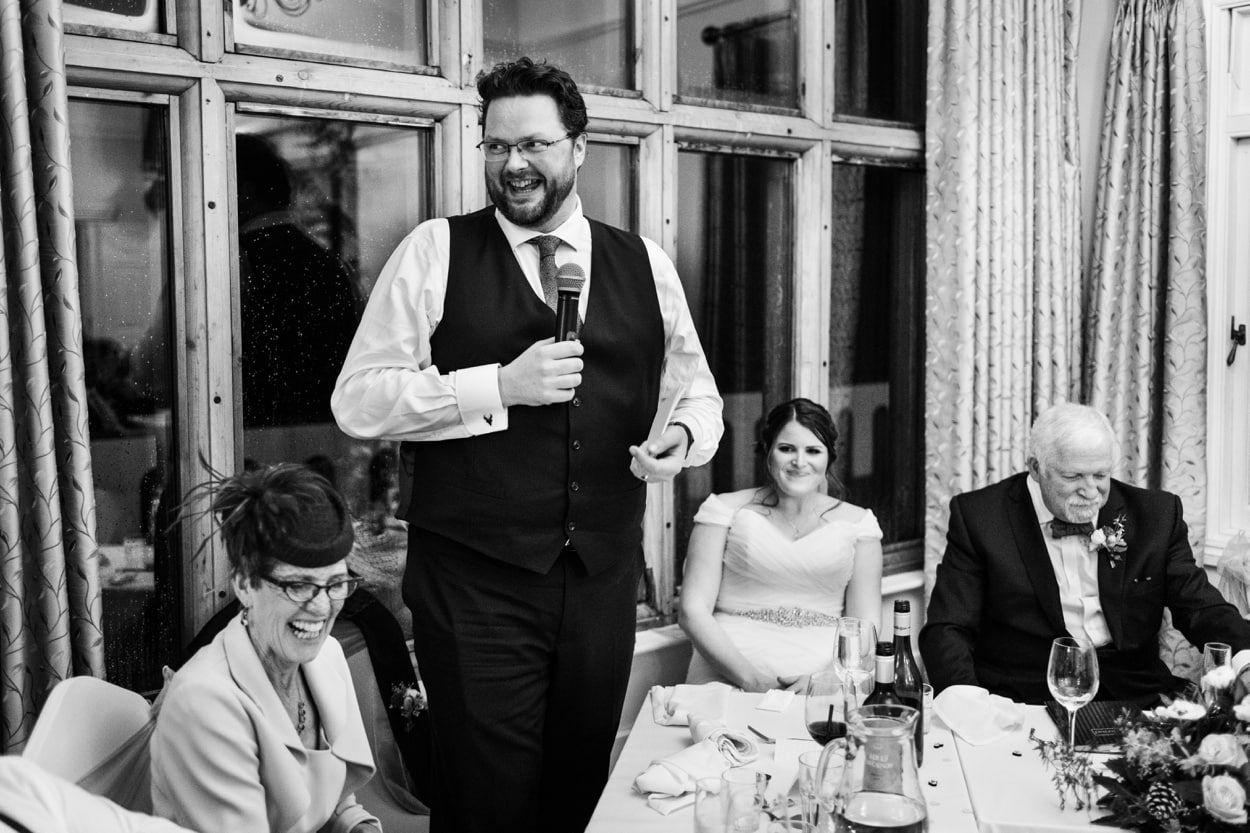 Grooms speech at Caer Llan in Monmoutshire