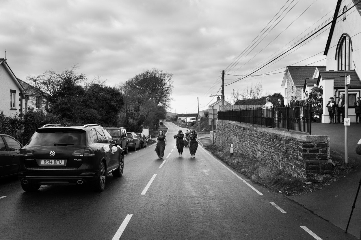Bride arriving at church wedding in West Wales