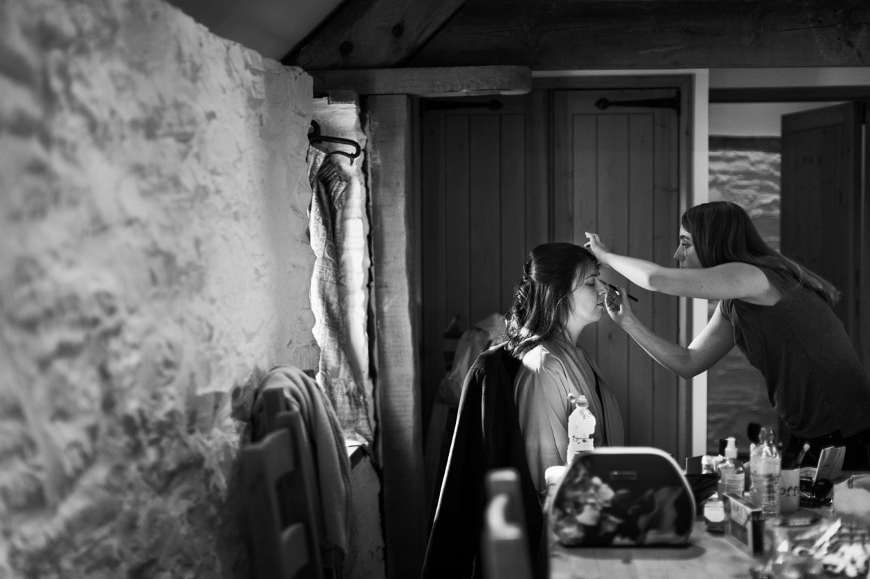 Bridal preparations at The Barn at Brynich