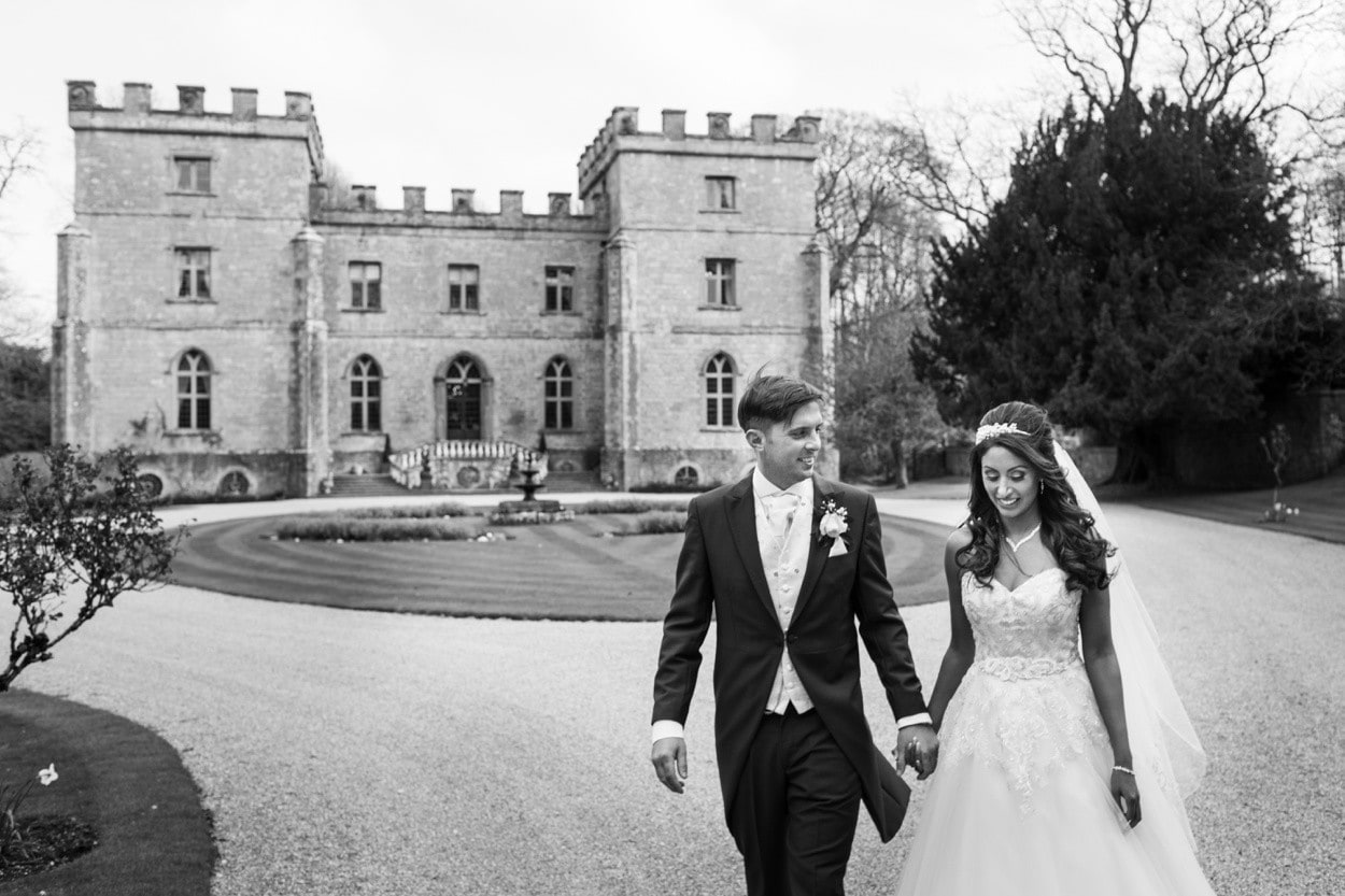 black and white wedding couple portrait at clearwell castle
