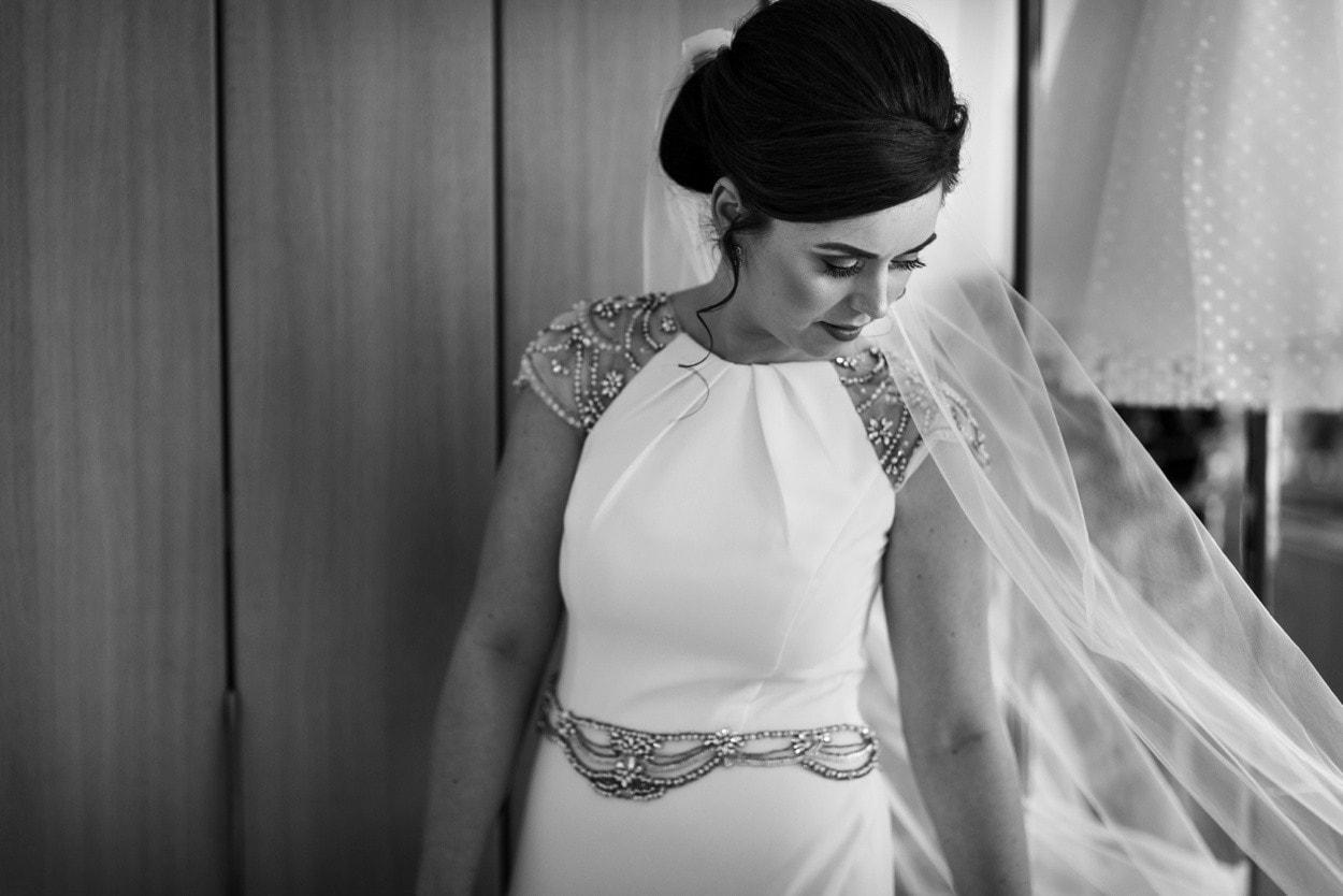 Bride in dress in South Wales