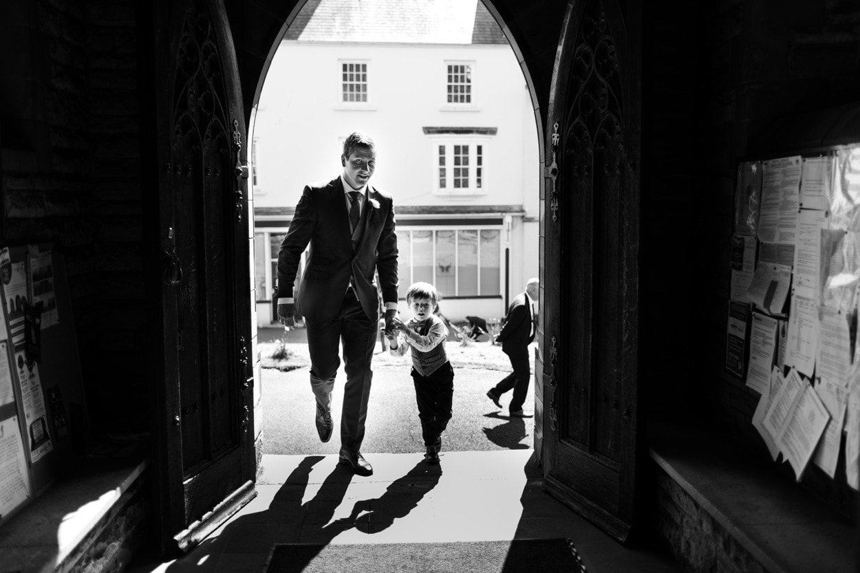 Groom and page boy at church wedding