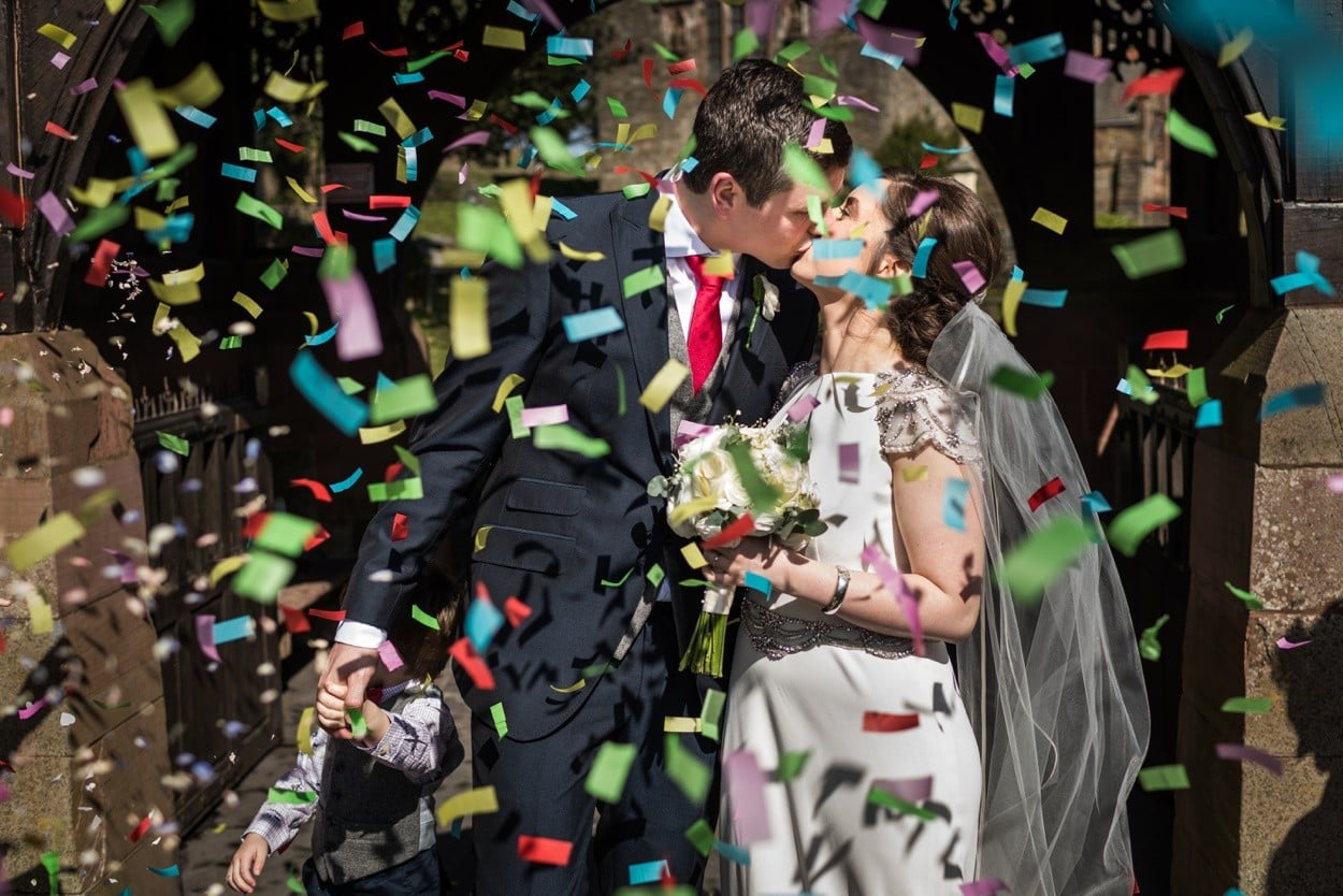 Confetti with bride and groom in South Wales