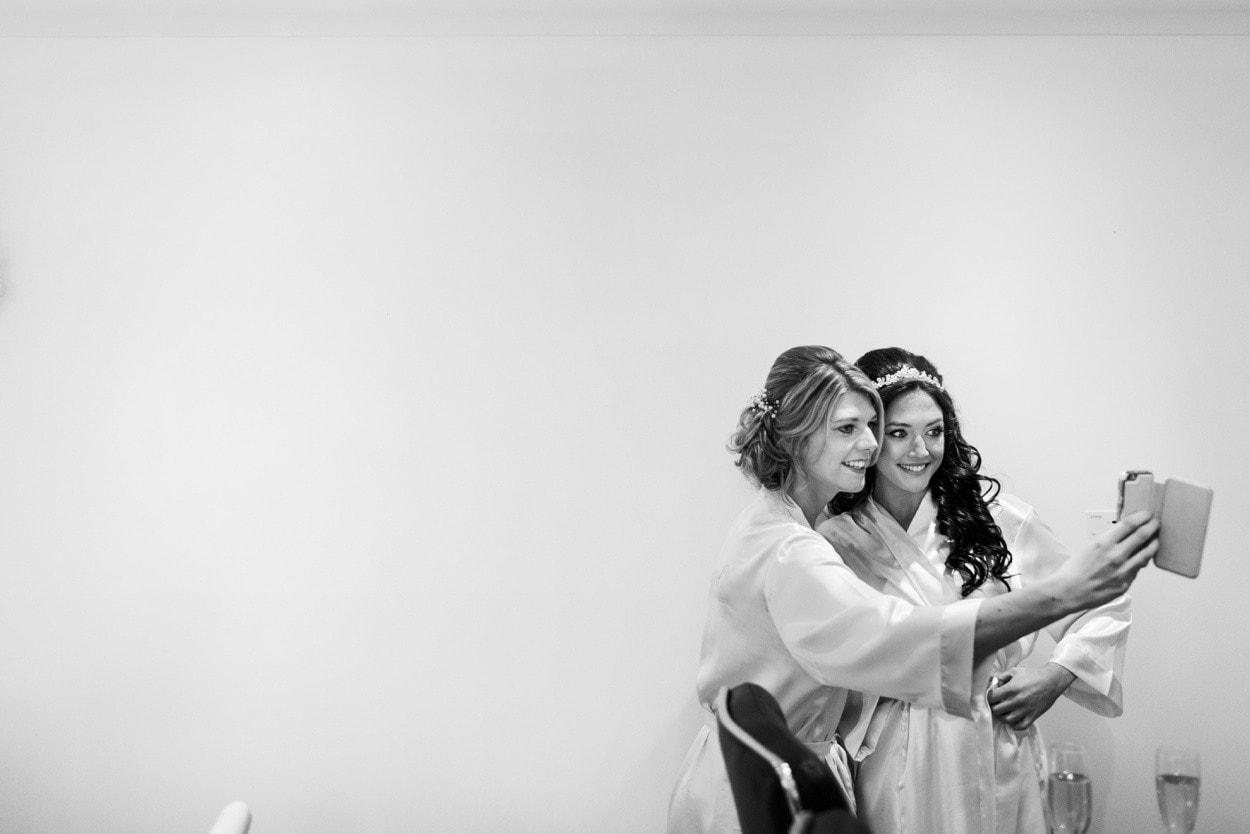 bride getting ready selfie